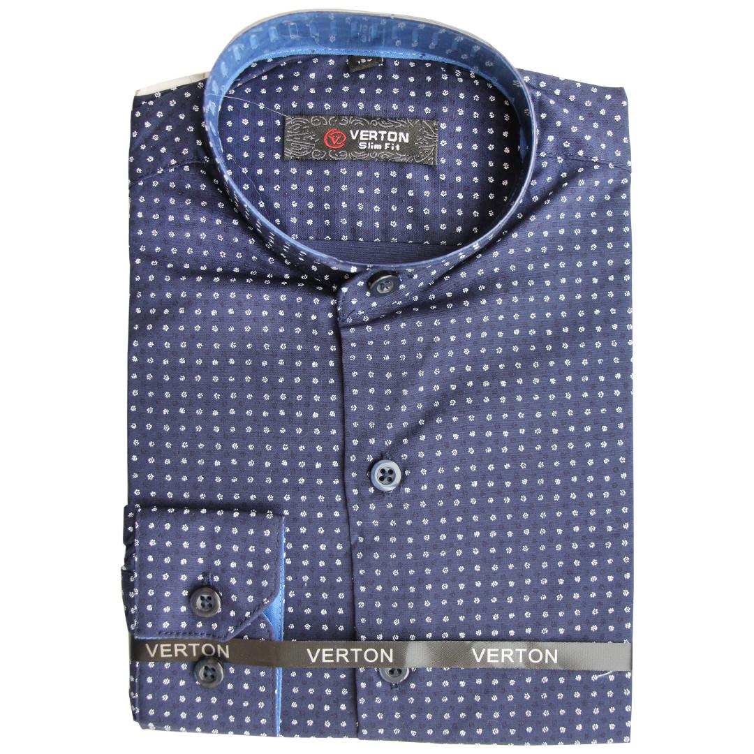 Хлопковая рубашка для мальчика на стойке с длинным рукавом трансформер темно-синяя