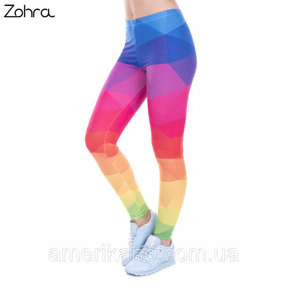 """Лосины яркие Zohra для занятий фитнеса, прогулок. """"Геометрия"""""""