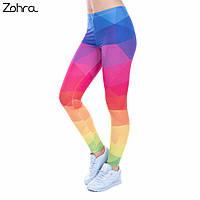 "Лосины яркие Zohra для занятий фитнеса, прогулок. ""Геометрия"", фото 1"
