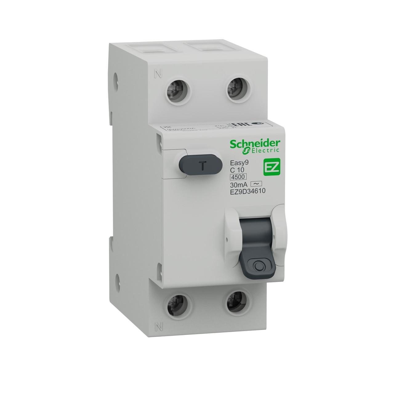 Дифференциальный автоматический выключатель EZ9D34610 Easy9 Schneider 1П+Н 10A 30MA C AC 4,5кА 36мм