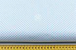 """Лоскут ткани """"Пунктирный горошек"""" бирюзовый на белом №1938, размер 63*75 см, фото 2"""