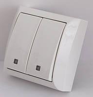 Выключатель двойной с подсветкой наружный белый LXL TERRA