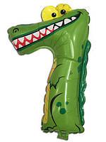 """Фольгированный шар Цифра """"7"""" Крокодил  50 см"""