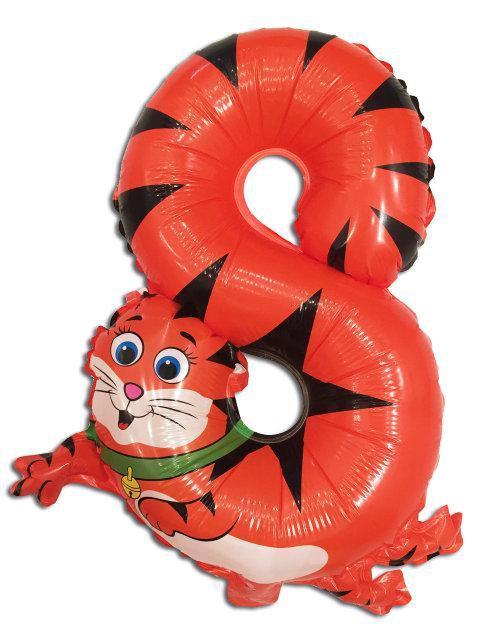 """Фольгированный шар Цифра """"8""""  Котик 50 см"""
