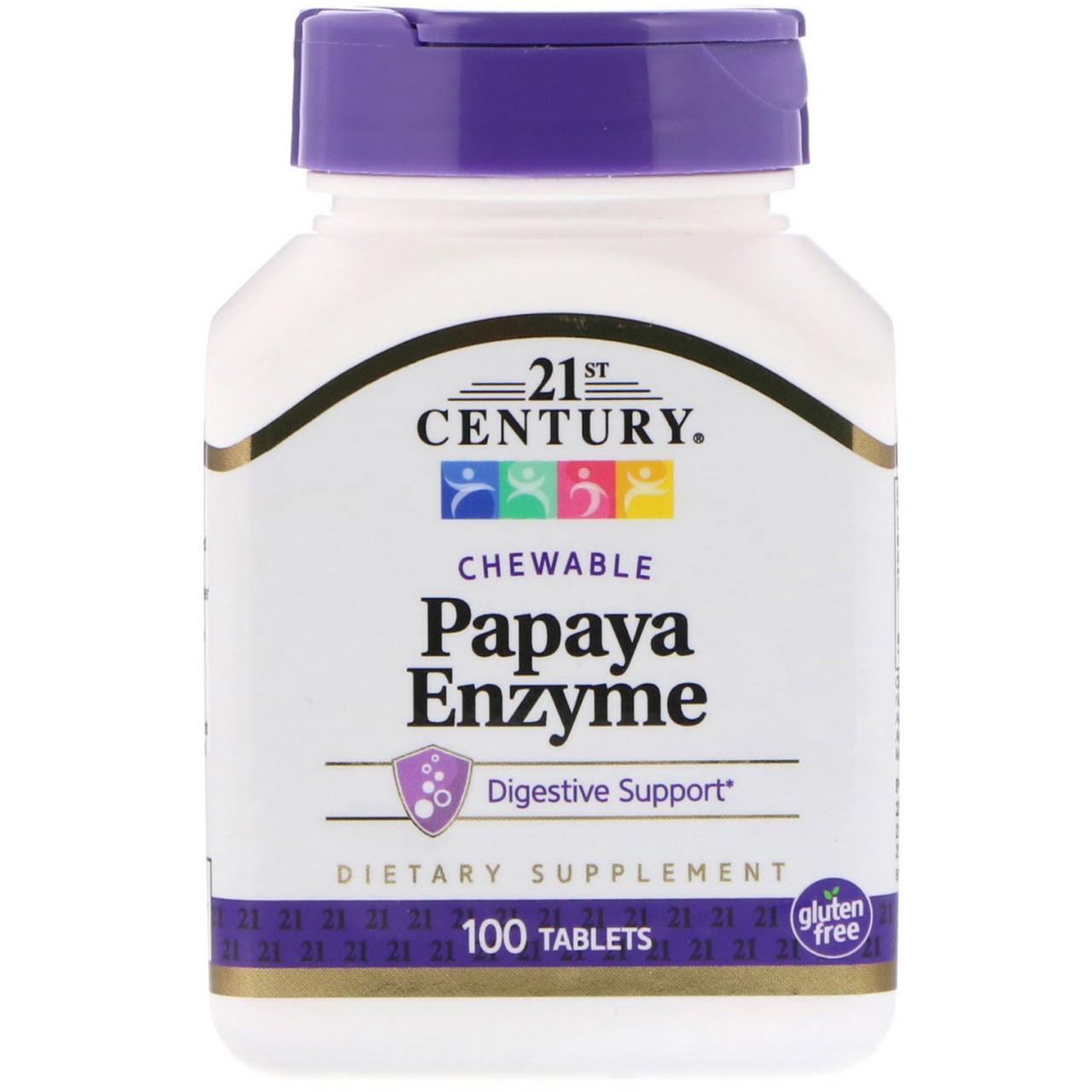 Біологічно активна добавка 21st Century Papaya Enzyme 100 Chewable Tabs