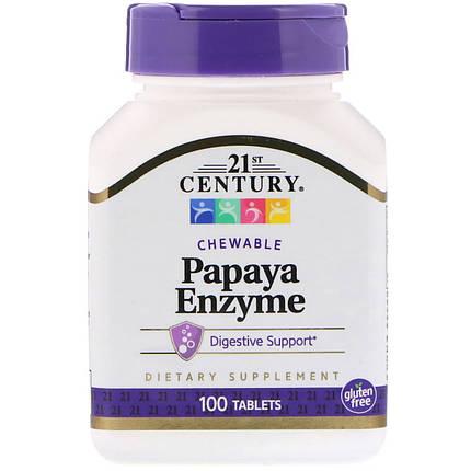 Біологічно активна добавка 21st Century Papaya Enzyme 100 Chewable Tabs, фото 2