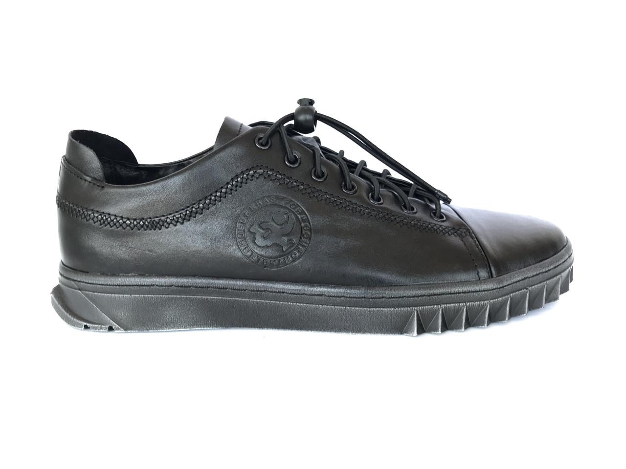 Чоловічі черевики з натуральної шкіри чорного кольору Krastfor