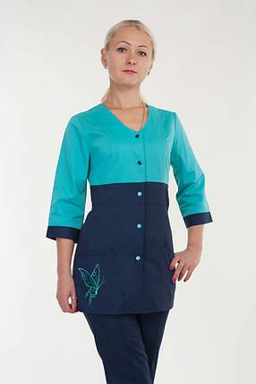 Комбинированный женский медицинский костюм на кнопках, фото 2
