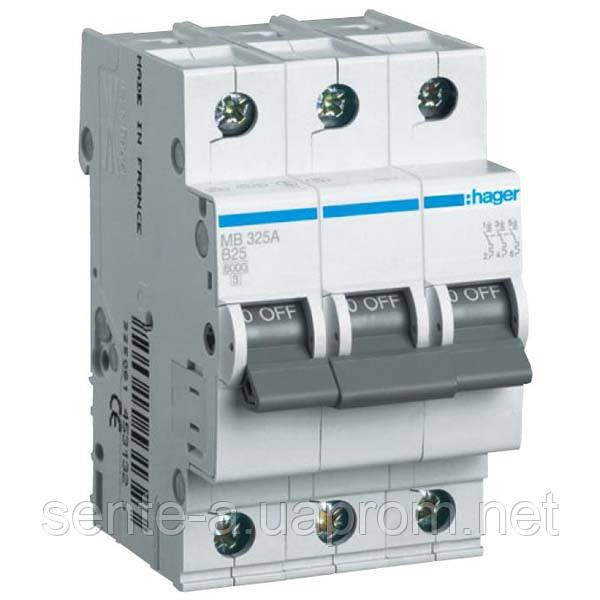 Автоматический выключатель 3 пол. 6А тип В 6КА МВ306А HAGER