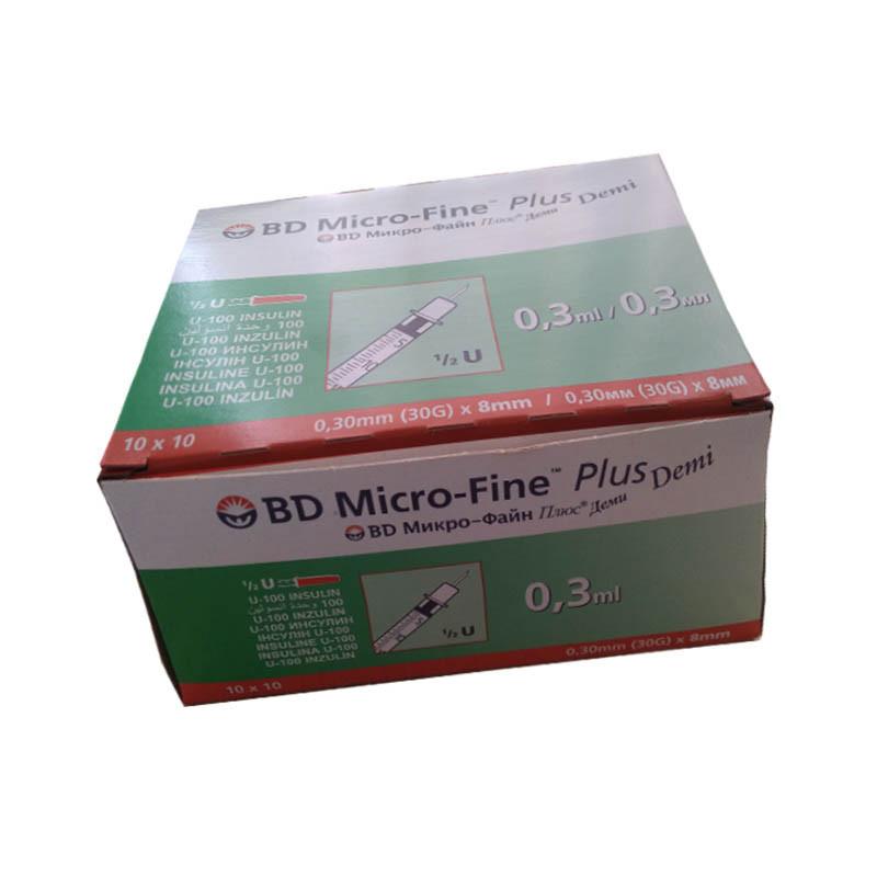 Инсулиновый шприц bd micro fine plus demi 0,30 мл (30G) x8 мм, 100 шт.
