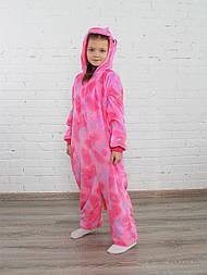 Детский кигуруми единорог розовый со звездами v10439