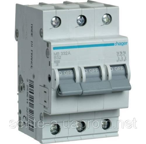 Автоматический выключатель 3 пол. 32А тип В 6КА МВ332А HAGER