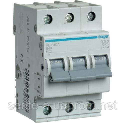 Автоматический выключатель 3 пол. 40А тип В 6КА МВ340А HAGER