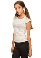 Красивая школьная блуза с коротким рукавом Барби (7-12 лет)