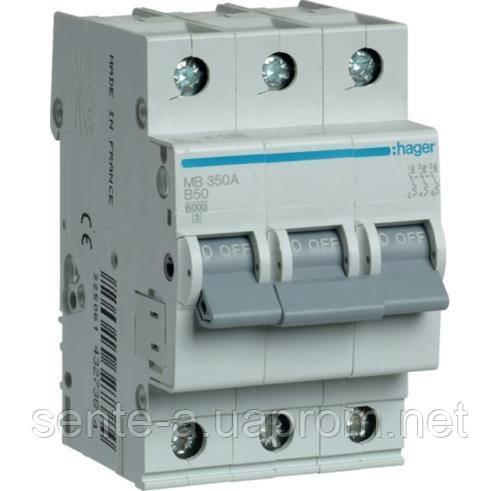 Автоматический выключатель 3 пол. 63А тип В 6КА МВ363А HAGER