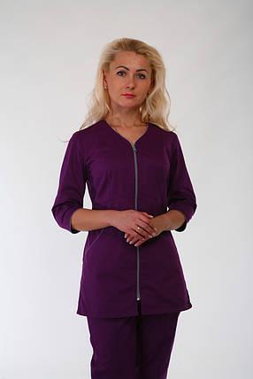 Бордовый женский медицинский костюм на замке, фото 2