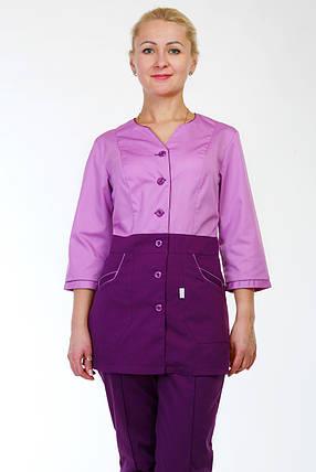 Комбинированный женский медицинский костюм на пуговицах, фото 2