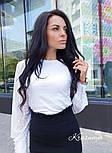 Женская белая кофточка-блуза с гипюровыми рукавами, фото 3