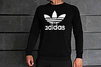 Комплект черный Свитшот с принтом Adidas+черные штаны