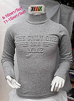 Гольф школьный детский для мальчиков 3D длинный рукав 6-10лет,серого цвета