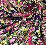 Душа розы 1838-8, павлопосадский платок (шаль) из уплотненной шерсти с шелковой вязаной бахромой, фото 7