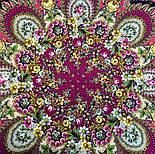 Душа розы 1838-8, павлопосадский платок (шаль) из уплотненной шерсти с шелковой вязаной бахромой, фото 10