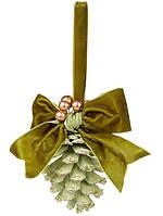 """Новогодний подвесной декор Шишка-подвеска """"Бантик"""" 25см, цвет - зеленый, набор 24 шт"""