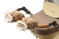 Рукавички-Муфта на коляску Ok Style Снежинка Бежевый блестящий