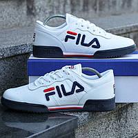 Кроссовки FILA мужские, белые, в стиле Фила, материал - кожа, Код DK-1132