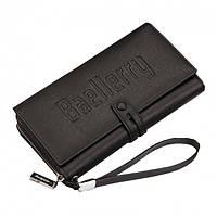 Чоловіче портмоне Baellerry Guero S1393 чорний місткий гаманець, фото 1