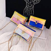 Женская маленькая прозрачная зеркальная сумка-клатч на цепочке  в корейском стиле, остались розовые