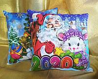 Новогодняя сувенирная подушка 2020 Дед Мороз и Мышка