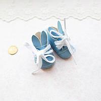 """Обувь для кукол Ботиночки на Шнуровке """"Зайчики"""" 5.5*3 см ГОЛУБЫЕ"""