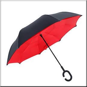 Зонт наоборот Up Brella однотонный Красный, фото 2