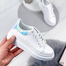 """Кроссовки женские """"Qwerty"""" белого цвета из эко кожи. Кеды женские. Мокасины женские. Обувь женская, фото 2"""