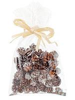 Новогодний декор шишка  2,5 см для декора с  серебристым напылением, упаковка 16 шт