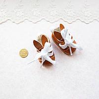 """Обувь для кукол Ботиночки на Шнуровке """"Зайчики"""" 5.5*3 см СВЕТЛО-КОРИЧНЕВЫЕ, фото 1"""