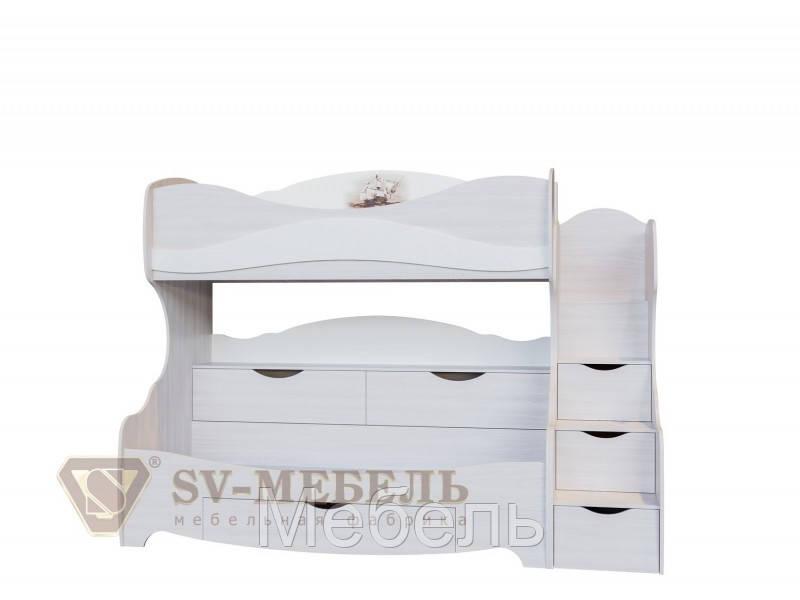 Кровать двухъярусная детская Акварель 1 SV Мебель 2515*1920*1150