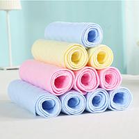 Вкладыш котоновый 3х слойный ( голубой, желтый, розовый) для многоразовых подгузников, фото 1