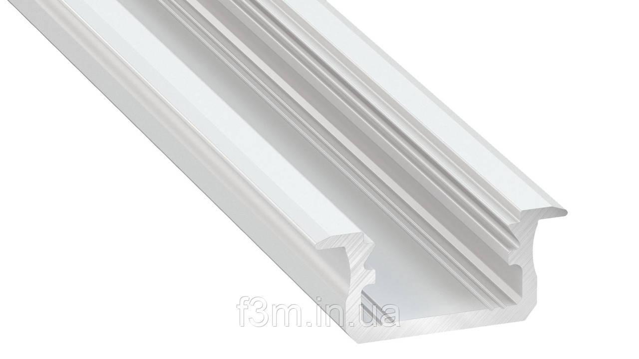 Врезной профиль алюминиевый для ленты LED: L=4150 мм, 7.0×16.0 мм, БЕЛЫЙ, Grass Hopper