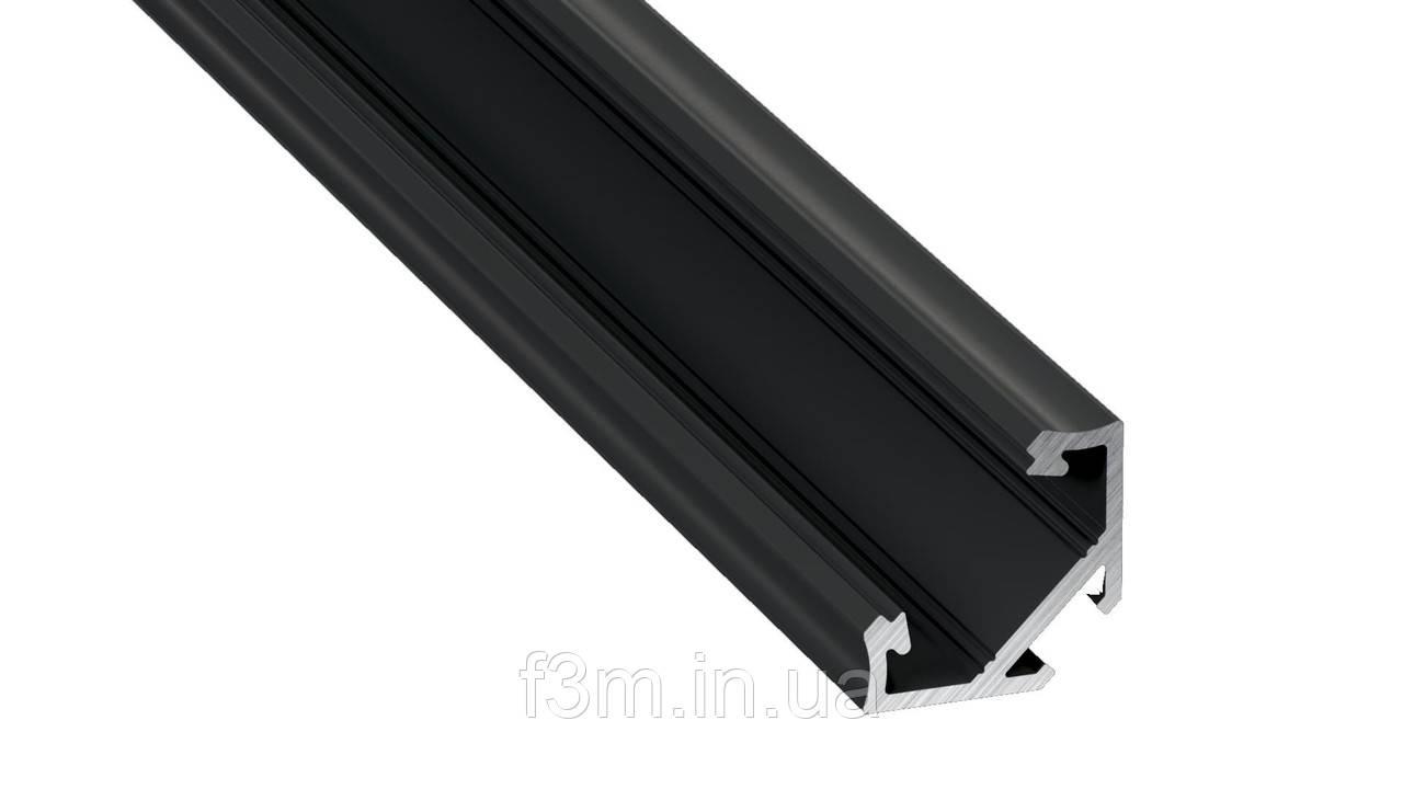 Угловой профиль алюминиевый для ленты LED: L=4150 мм,16.6×11.3×23.3 мм , ЧЁРНЫЙ, Grass Hopper