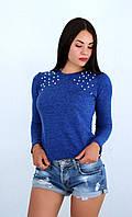Женская теплая кофта из ангоры-софт с жемчугом на плечах, фото 1
