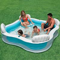 Семейный бассейн с сиденьем и спинкой 56475 Intex (229х229х46)