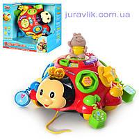 Развивающая игрушка 957 Божья коровка, обучающая, муз(рус), свет, фигурка,на бат-ке, в кор-ке