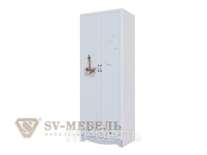 Шкаф двухстворчатый с одним ящиком детская Акварель 1SV Мебель 800*2200*450