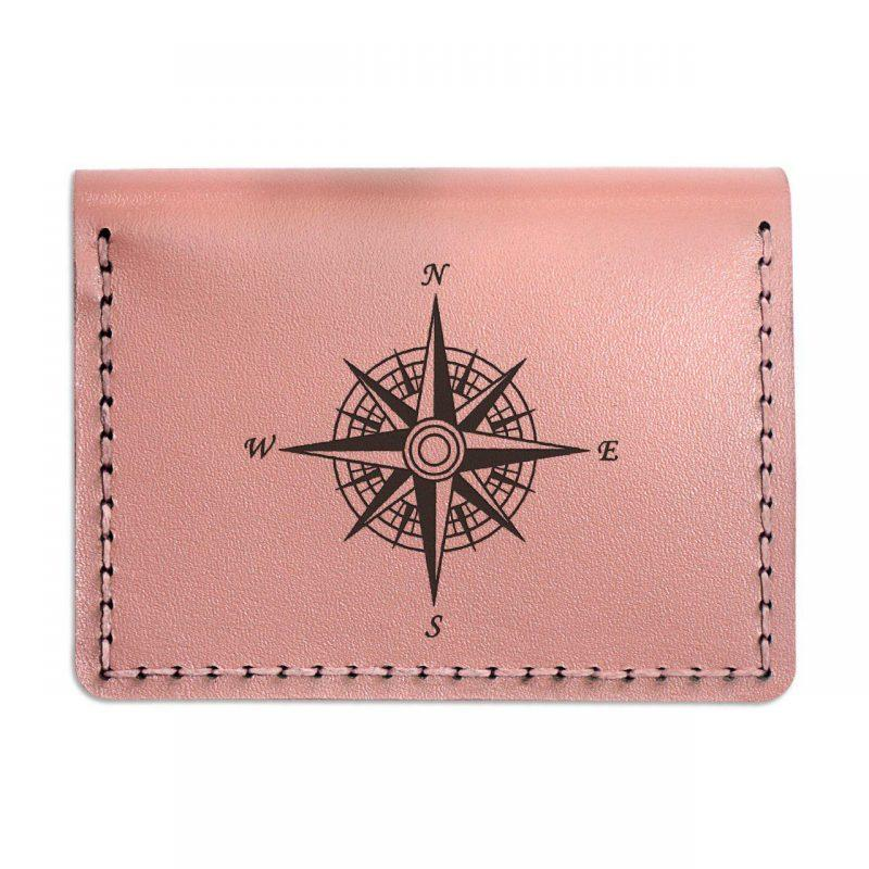 Обложка-портмоне женская кожаная для автодокументов и нового паспорта. Цвет розовый