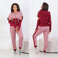 Хороший женский спортивный костюм брюки и мастерка с коротким рукавом + перчатки цвет фреза+марсала