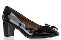 Стильные туфли черного цвета на удобном каблуке, украшенные бантом! размеры 37,38