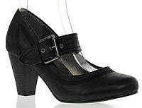 Стильные туфли черного цвета на удобном каблуке!