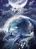 Алмазная живопись На волне с океаном 40 х 55 см (арт. FS884) вышивка стразами